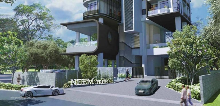 Artist impression of the Entrance to Neem Tree Condo.