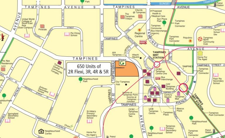 Map view of the BTO available in Tampines for November 2019 launch. Picture: HDB