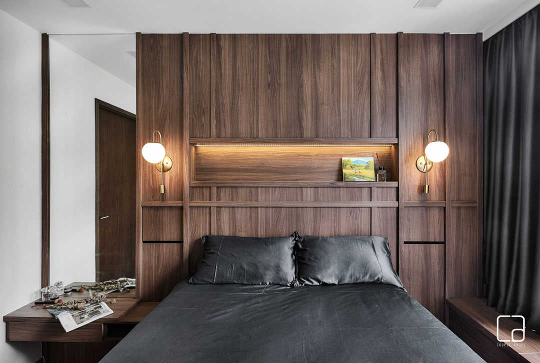 If you're using mirrors in the bedroom, place them closer to the top to create the illusion of a taller ceiling.