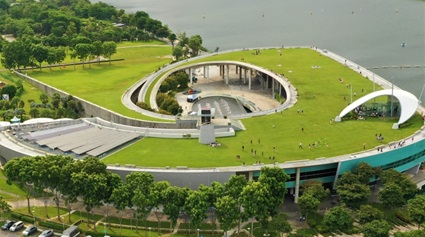 Aerial view of the Marina Barrage