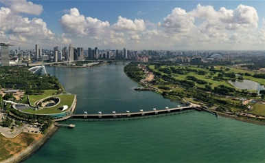 Aerial view of Marina Barrage