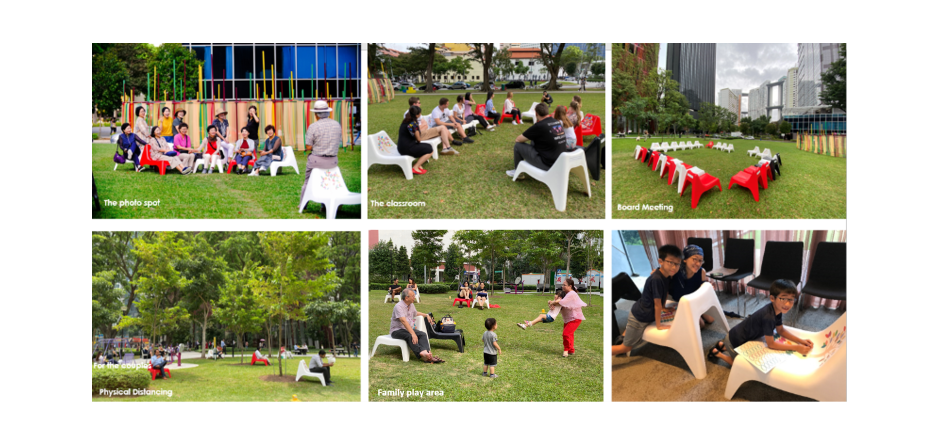 Moveable chairs at the open green space in Tanjong Pagar