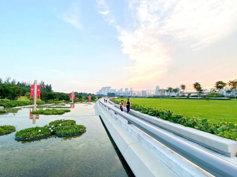 Taking a walk at the recreational space on the roof of Keppel Marina East Desalination Plant